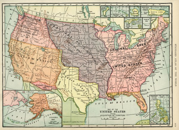 Acquisition Map of United States Free Graphic Old