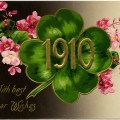 vintage New Year postcard, vintage floral clip art, old fashioned New Years card, four leaf clover 1910 postcard, vintage flower postcard graphic
