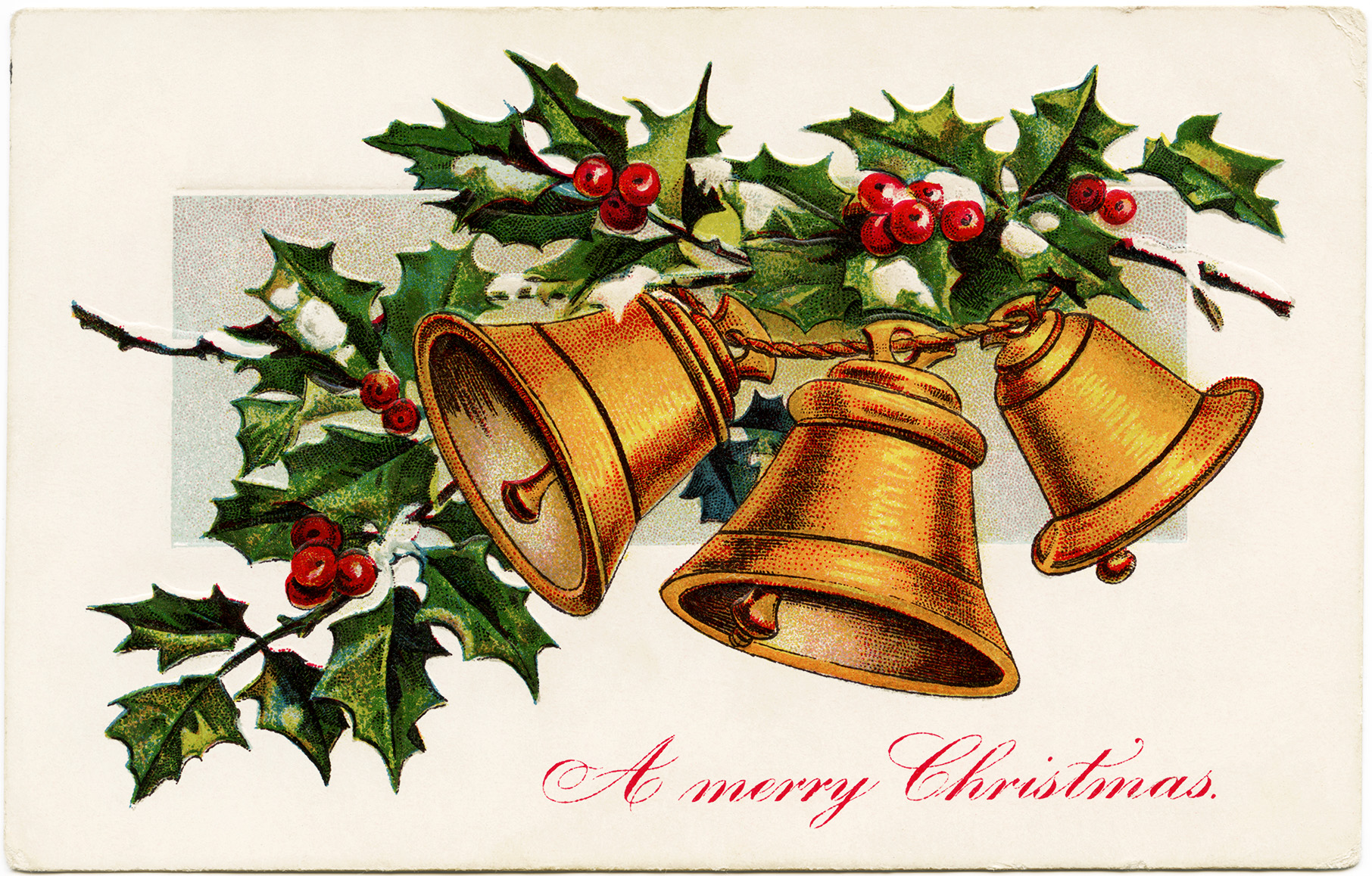 Bells And Holly Christmas Illustration
