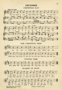 vintage sheet music, songs for December, kindergarten music, simple songs for children, old book page