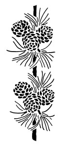 vintage pine cone clip art, black and white graphics, pine cone needles illustration, vintage Christmas clipart