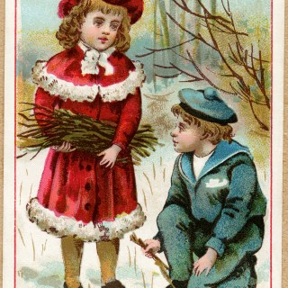 Victorian Children Gathering Twigs