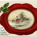 John Winsch vintage postcard, wax seal envelope postcard graphics, holly and berries clip art, antique New Year card, old fashioned new year illustration
