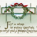 Victorian Christmas card, vintage postcard graphic, merrie Christmas greeting, old fashioned holiday illustration, vintage wreath clip art