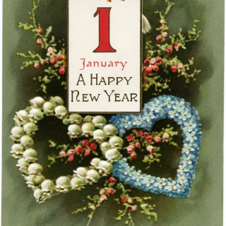 January 1 Vintage New Year Postcard