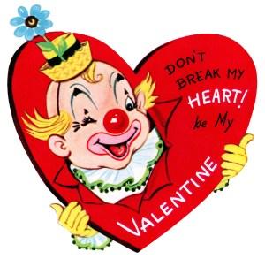 clown valentine, vintage valentine clip art, retro valentine card, printable valentines, old fashioned childrens valentine