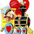 train valentine, vintage valentine clip art, boy engineer driving train, retro valentine card, printable valentines, old fashioned childrens valentine