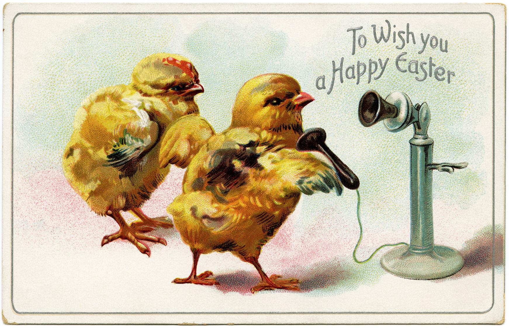 Easter Chicks Using Telephone Old Design Shop Blog