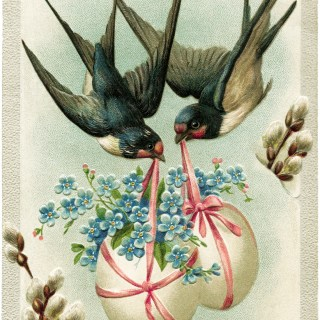 Birds Carrying Easter Eggs ~ Free Vintage Image