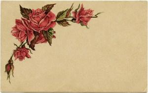vintage easter postcard, red roses clip art, shabby vintage ephemera, old fashioned easter card, beautiful floral postcard, junk journal printable