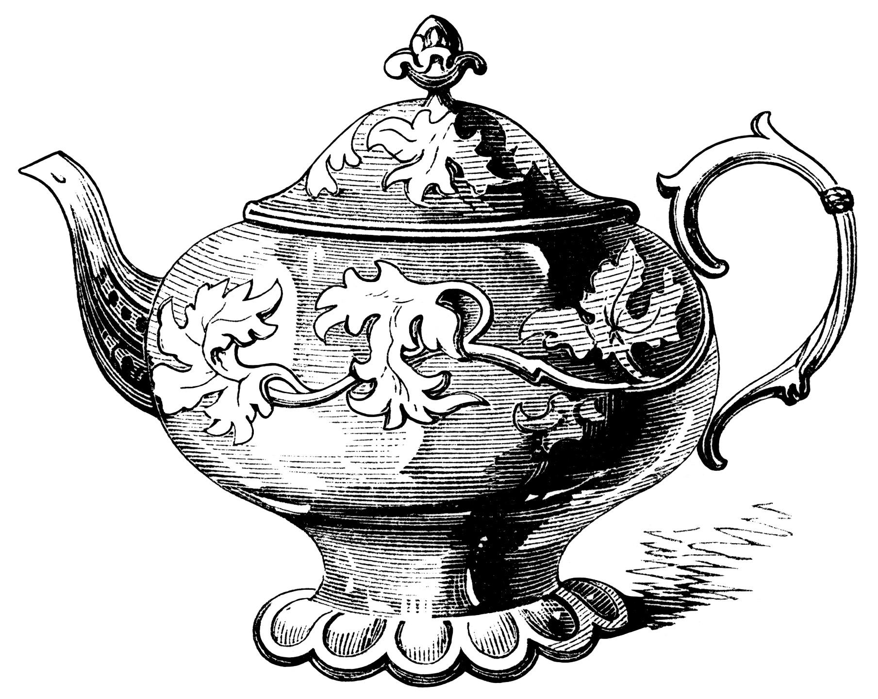 Elegant Tea Pots Free Victorian Clip Art