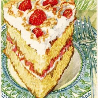 Strawberry Meringue Cake ~ Free Vintage Graphics