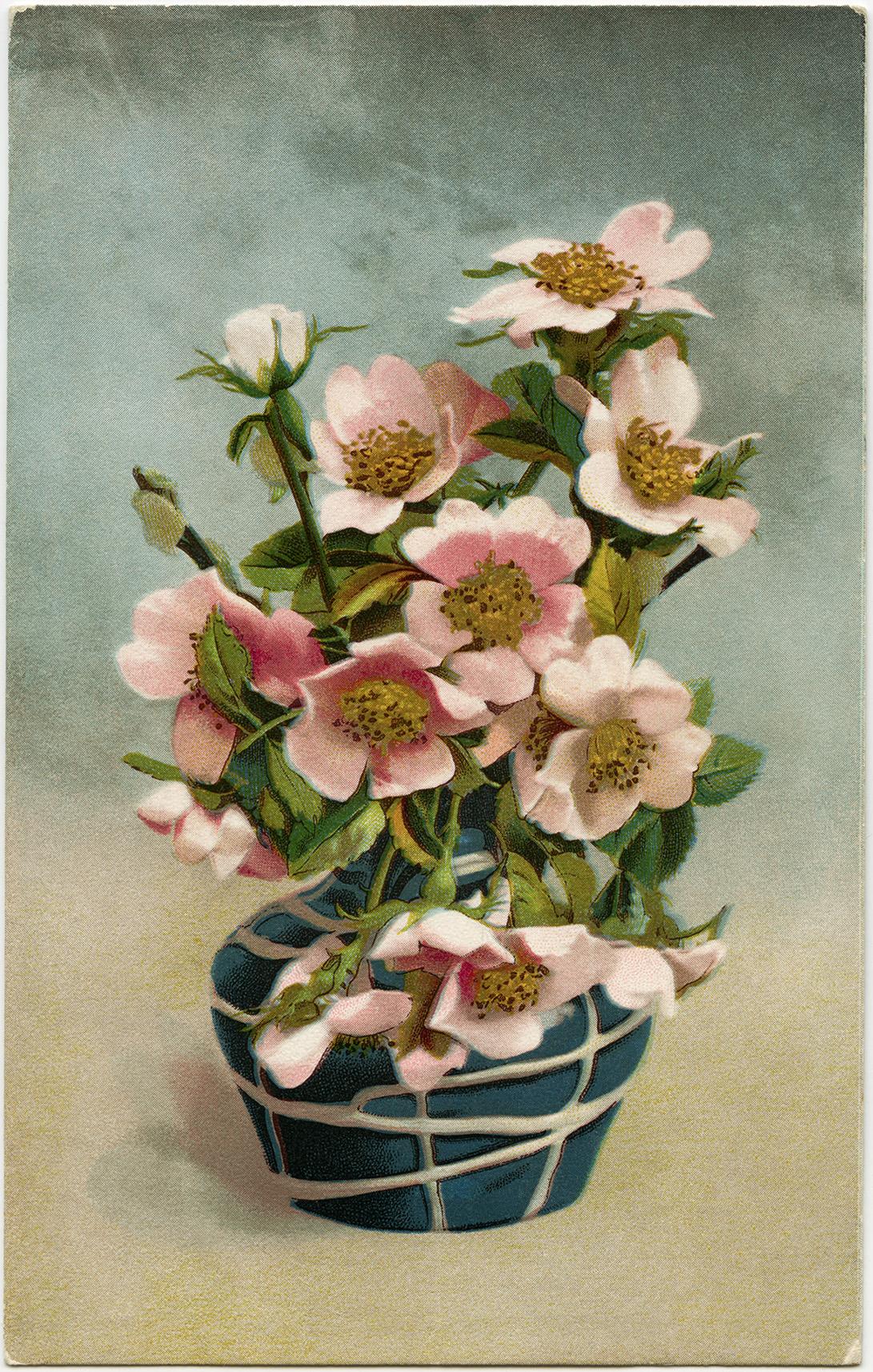 Victorian postcard graphics vintage floral postcard pink