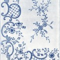 victorian embroidery, swirls and flowers design, ornamental border and corner spray, fancy stitches, vintage sewing clipart