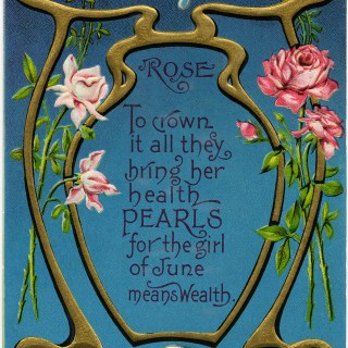 June Rose ~ Vintage Postcard Image