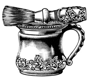 Victorian shaving mug, antique shaving mug brush set, black and white graphics, vintage shaving clip art