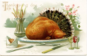 R J Wealthy, antique Thanksgiving postcard, roast turkey clip art, Victorian thanksgiving, vintage turkey graphic, old fashioned thanksgiving card, turkey dinner illustration