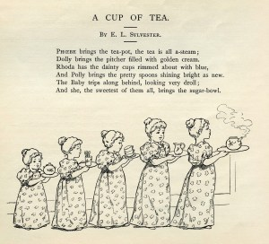 tea clip art, a cup of tea poem, E. L. Sylvester poetry, girls serving tea, black and white graphics