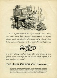 Everett piano ad, santa playing piano, black and white graphics, John Church Co, vintage Christmas clip art