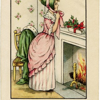 Victorian Lady in Pink Christmas Card