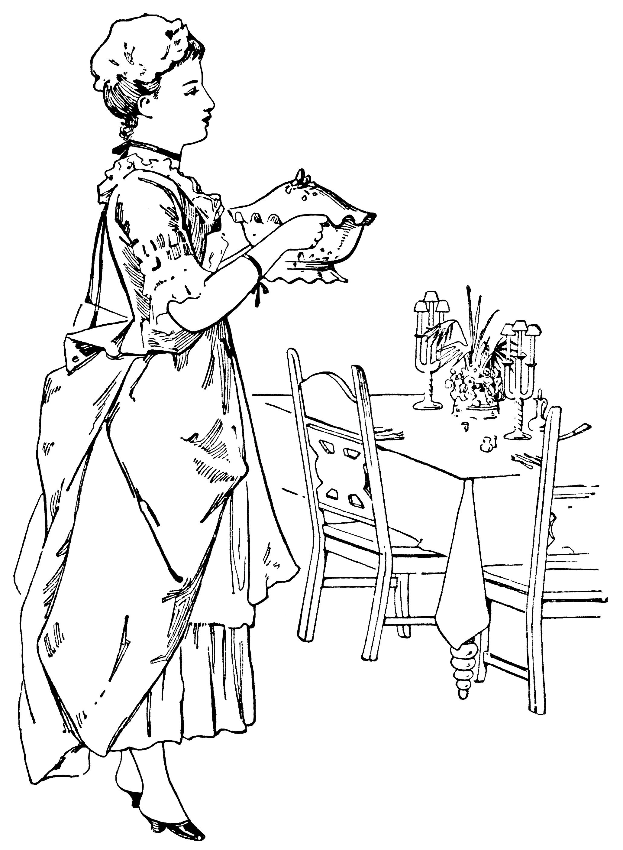 Victorian Lady Serving Food