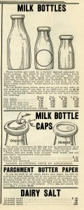 milk bottle clip art, vintage dairy, paper ephemera, black and white graphics, antique catalog ad