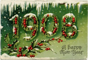 old fashioned new years card, Victorian New Year postcard, 1908 new year, holly berries, vintage new year clip art