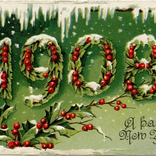 1908 New Year Holly and Berries Card