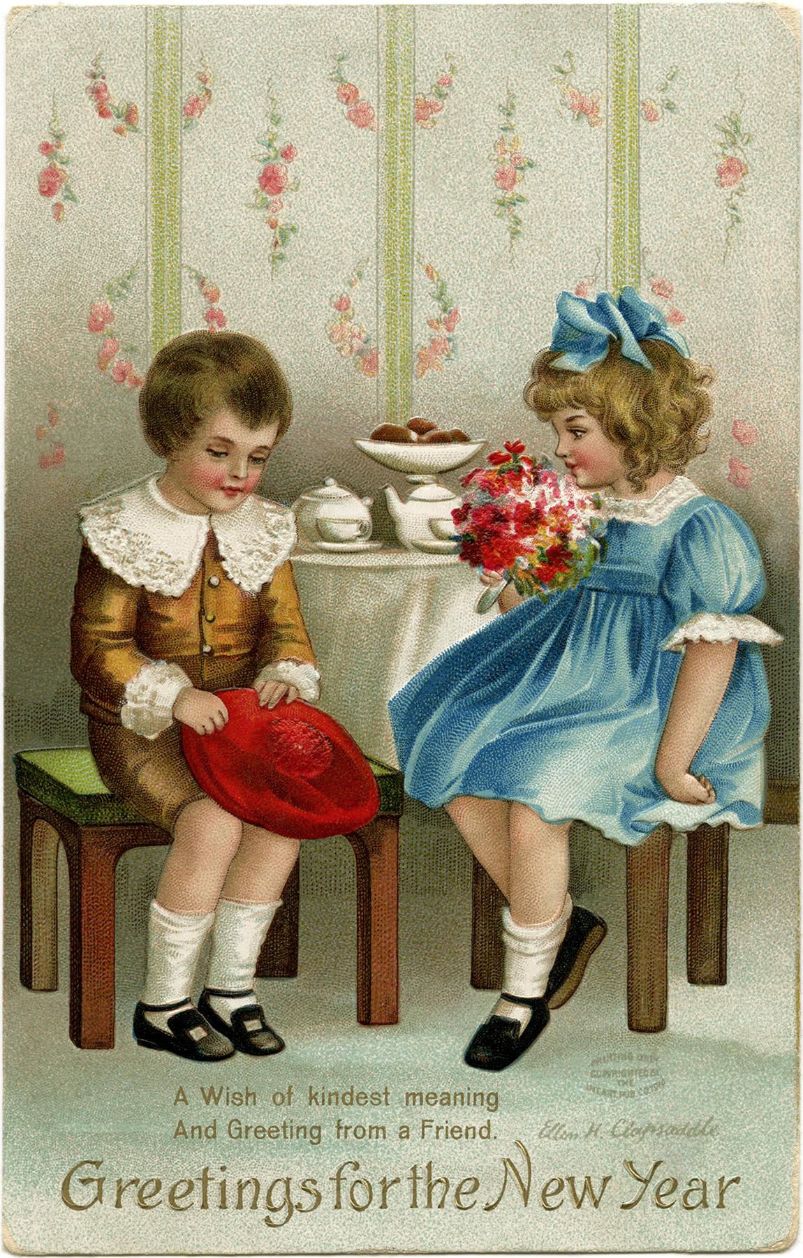 Victorian Children New Year Postcard Old Design Shop Blog