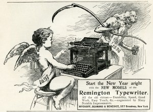 typewriter clip art, vintage typewriter ad, Remington typewriter, new year clip art, black and white graphics
