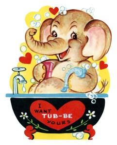 free printable vintage kids valentine elephant in tub