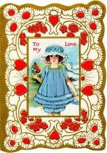 free vintage valentine clip art girl in blue dress