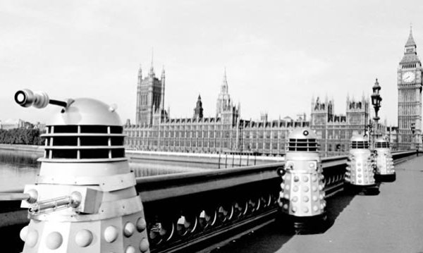 "The Daleks and their ""Robo-men"" slaves take over the Earth, in ""The Dalek Invasion Of Earth"" - 1965."