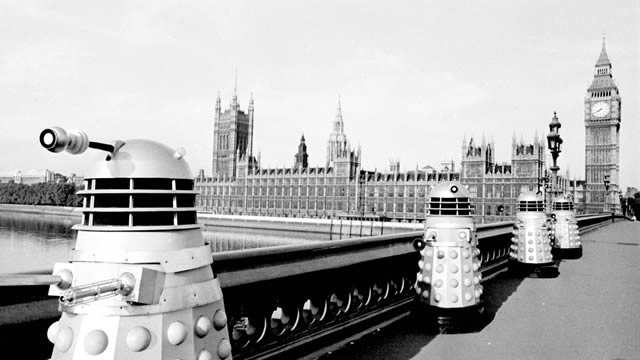 """The Daleks and their """"Robo-men"""" slaves take over the Earth, in """"The Dalek Invasion Of Earth"""" - 1965."""