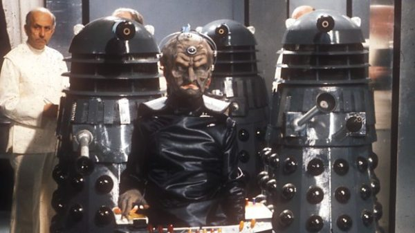 "Back at the very beginning, the Dalek creator Davros, shows off his new prototype Dalek design. In ""Genesis Of The Daleks"" - 1975."