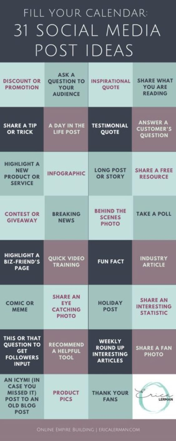 31 DAYS WORTH OF GREAT IDEAS FOR SOCIAL MEDIA POST TOPICS