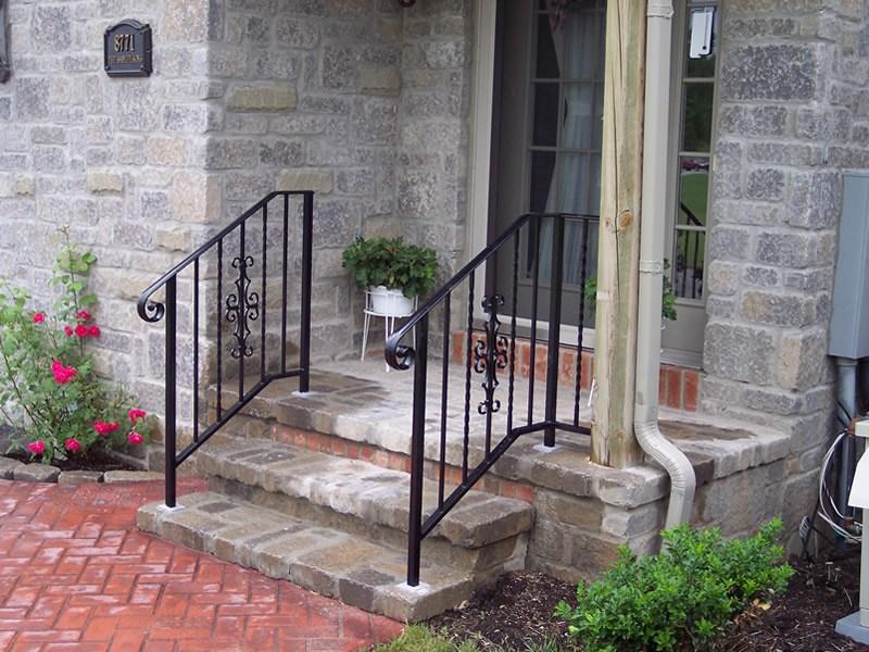 Aluminum Railings Old Dutchman S Wrought Iron Inc | Outside Porch Step Railings | Wrought Iron Railings | Stair Stringers | Vinyl Railing | Concrete Steps | Railing Ideas
