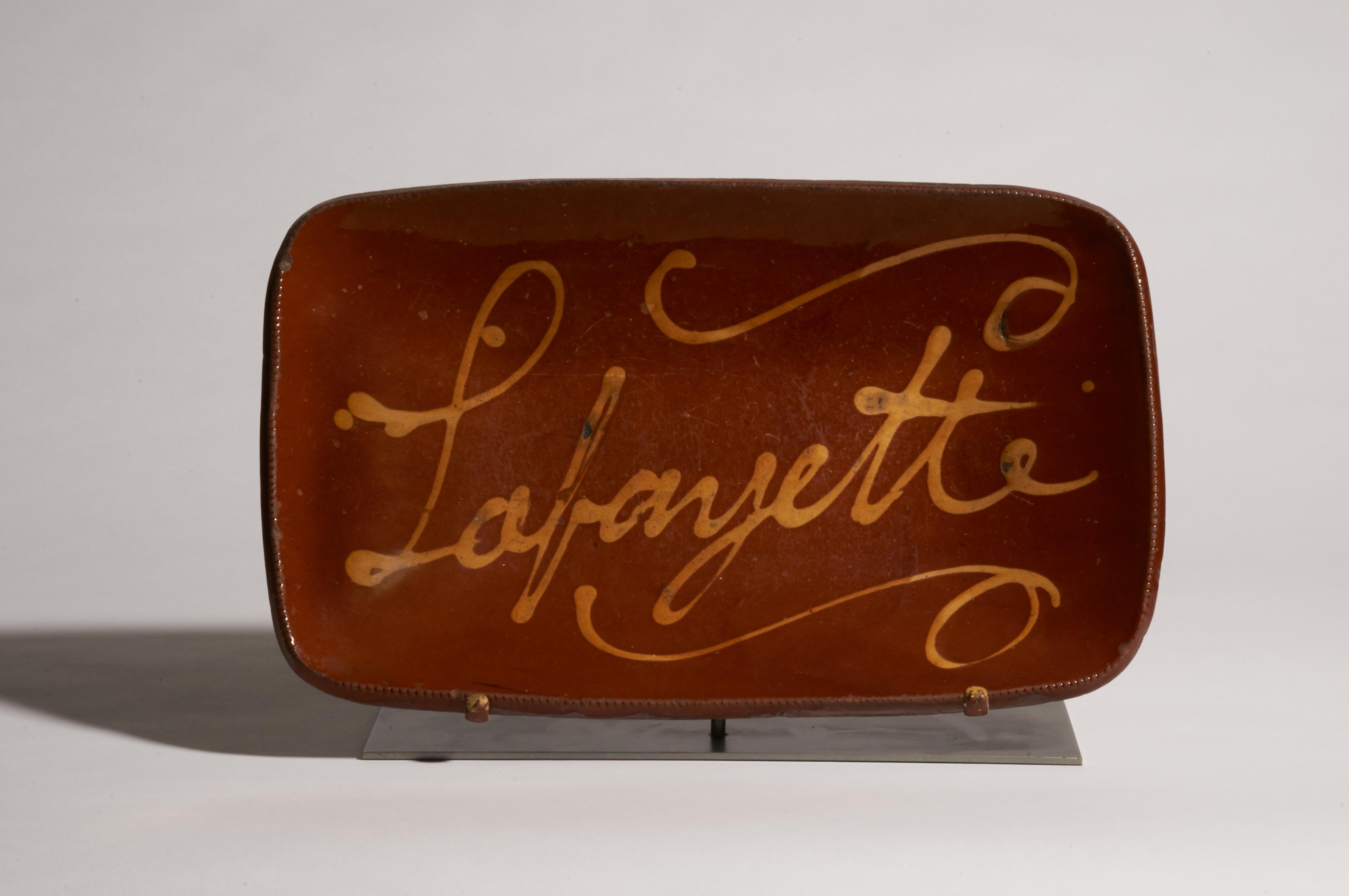 connecticut redware Lafayette dish rel=