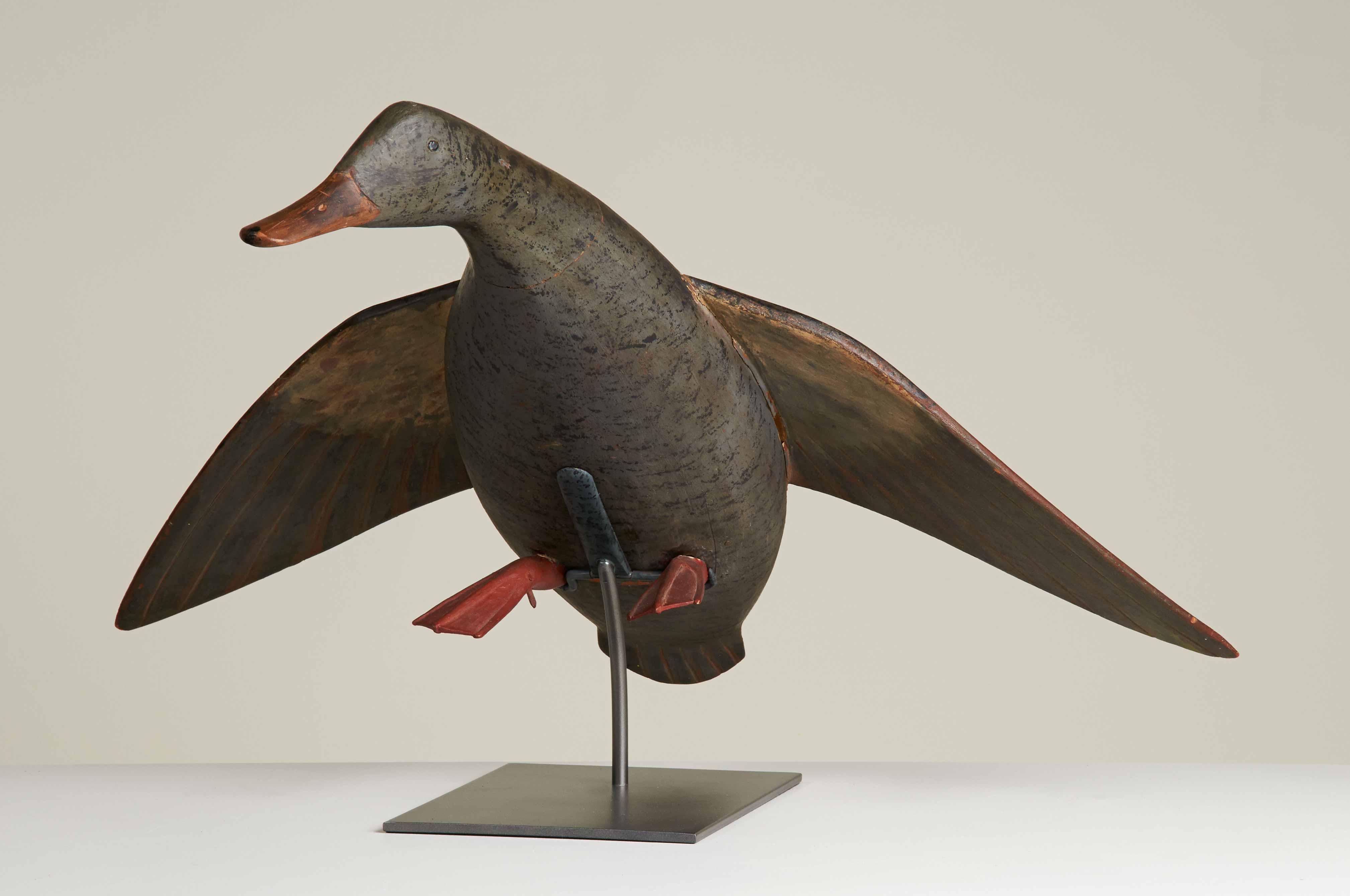 antique carved duck decoy rel=