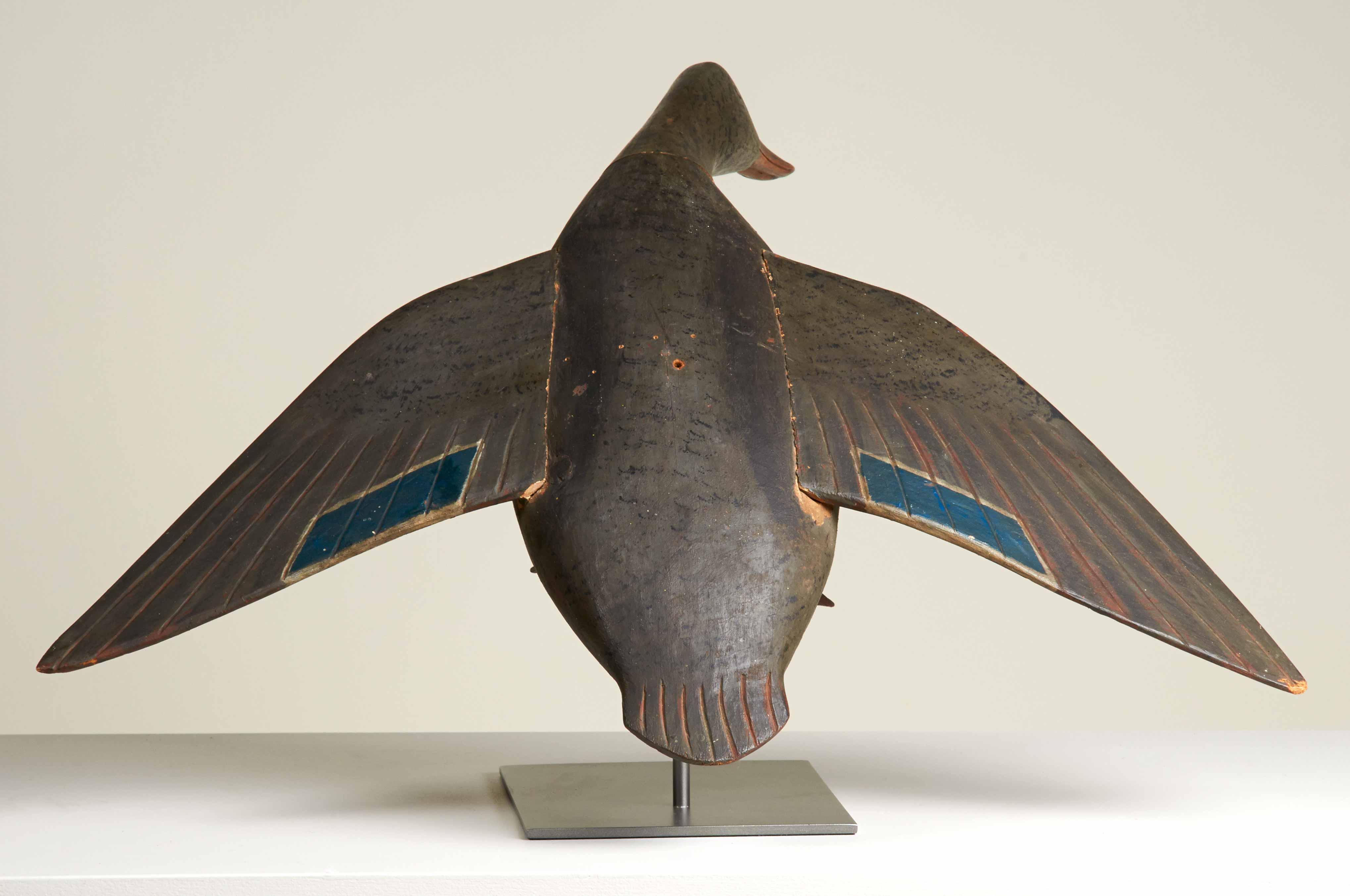antique carved duck decoy mallard hen rel=