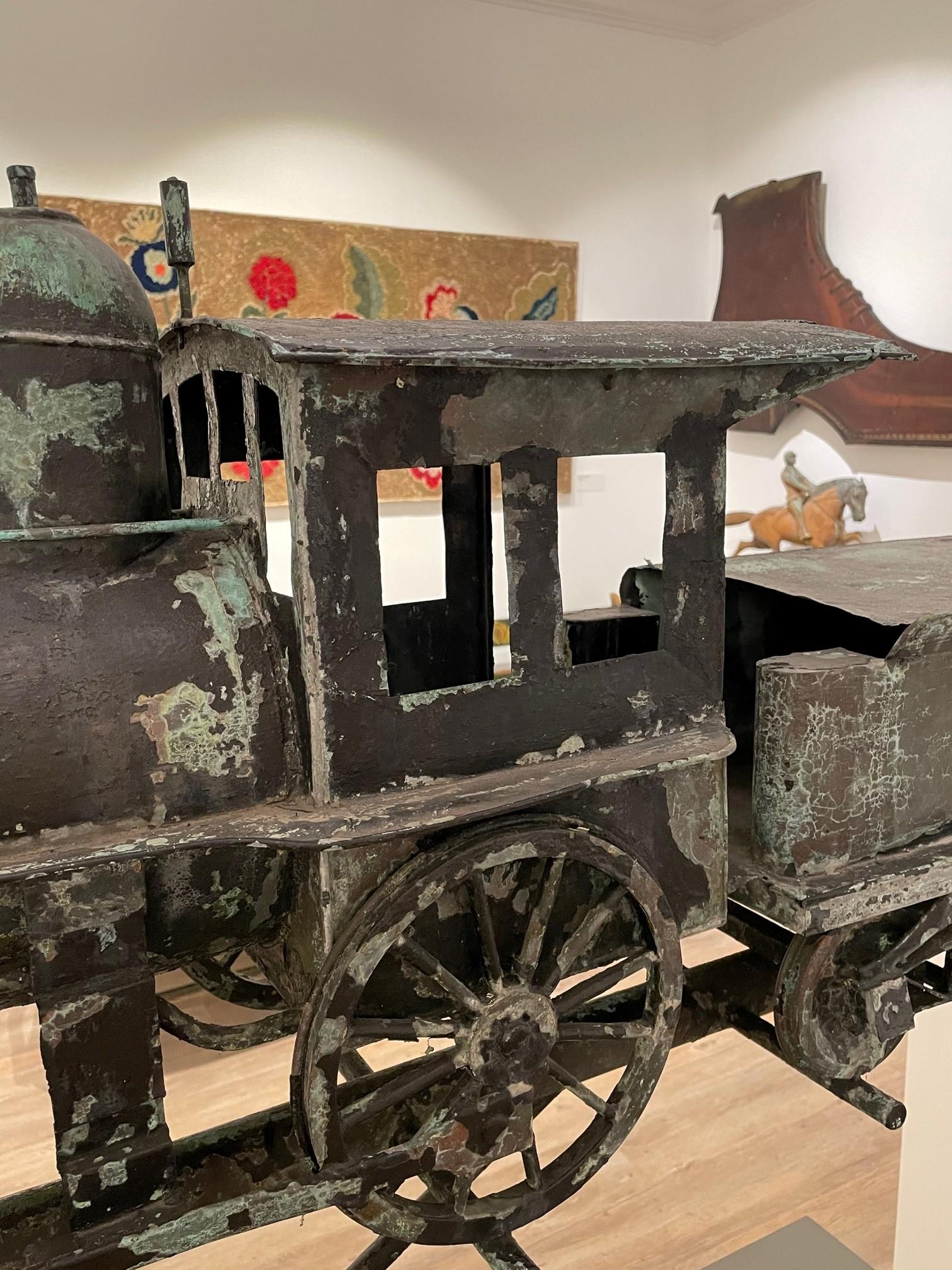 antique train locomotive weathervane rel=