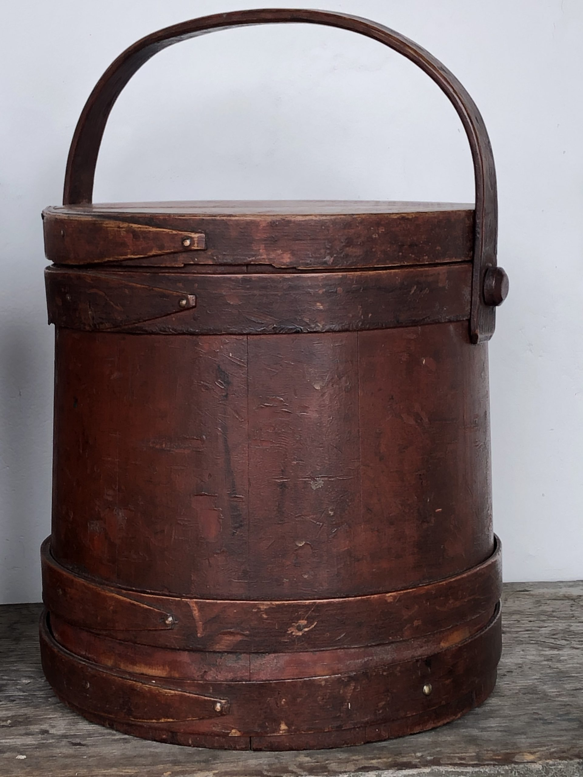 antique country painted red firkin rel=