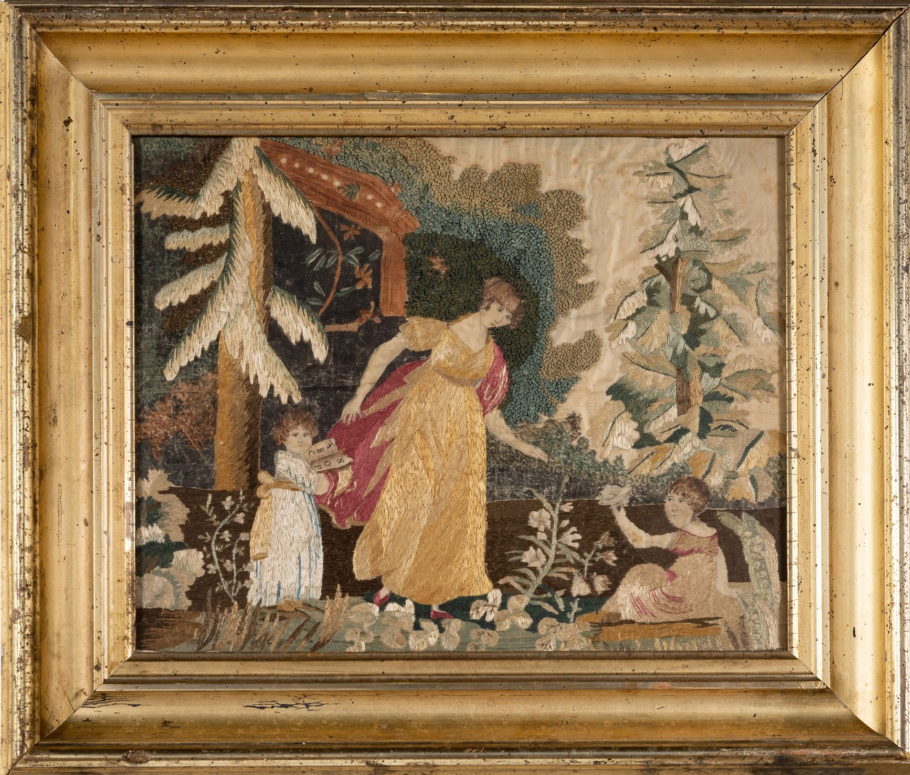 antique silk embroidered picture rel=