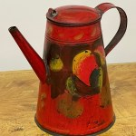 red toleware coffee pot