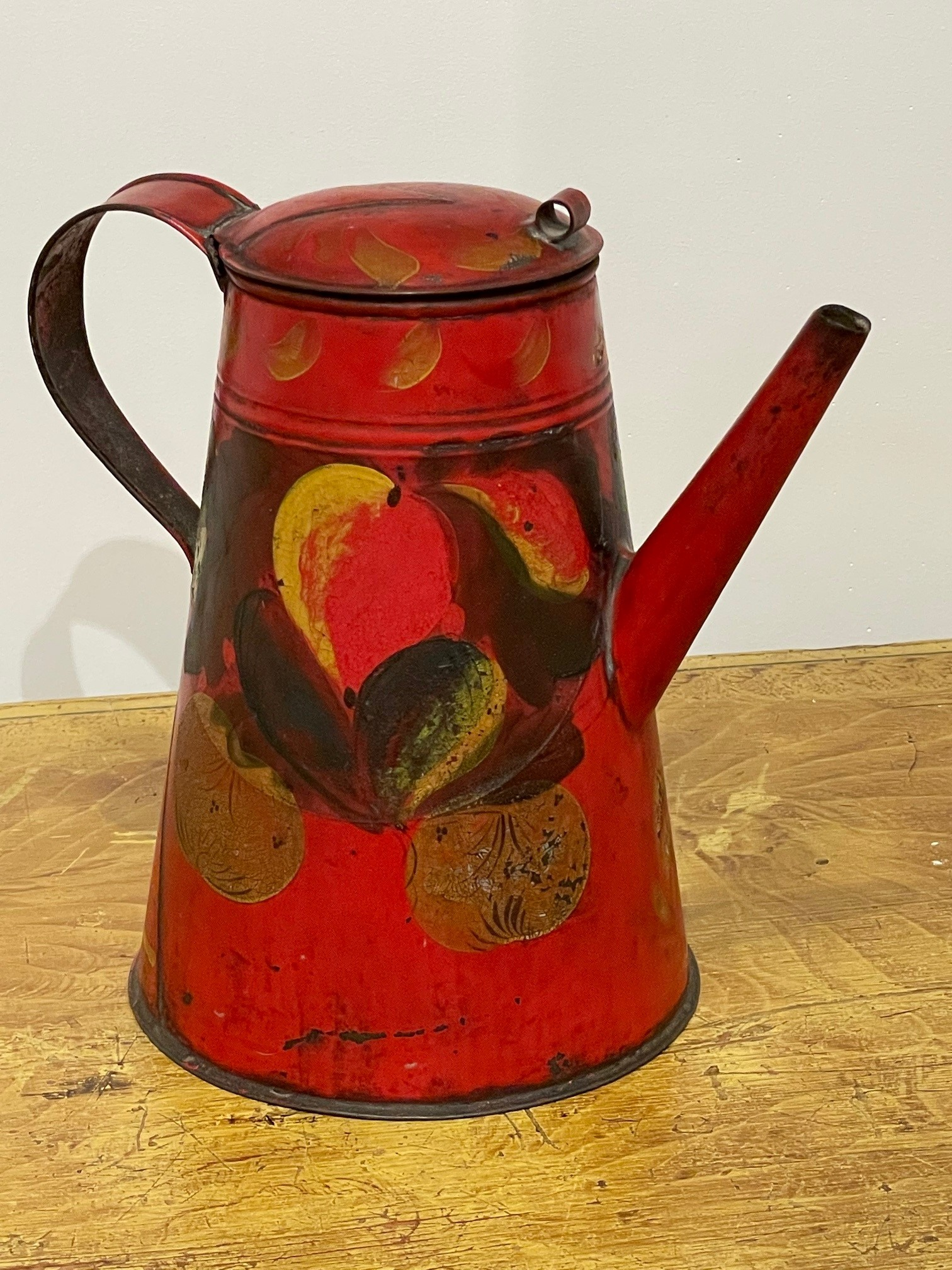 red toleware coffee pot rel=