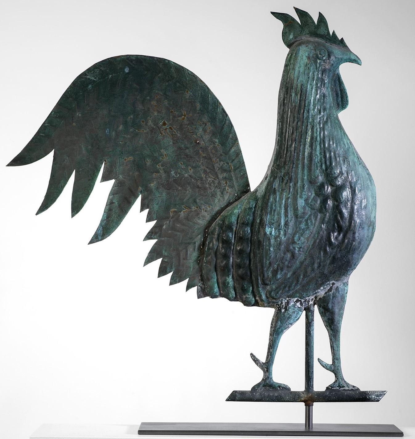 antique copper rooster weathervane rel=