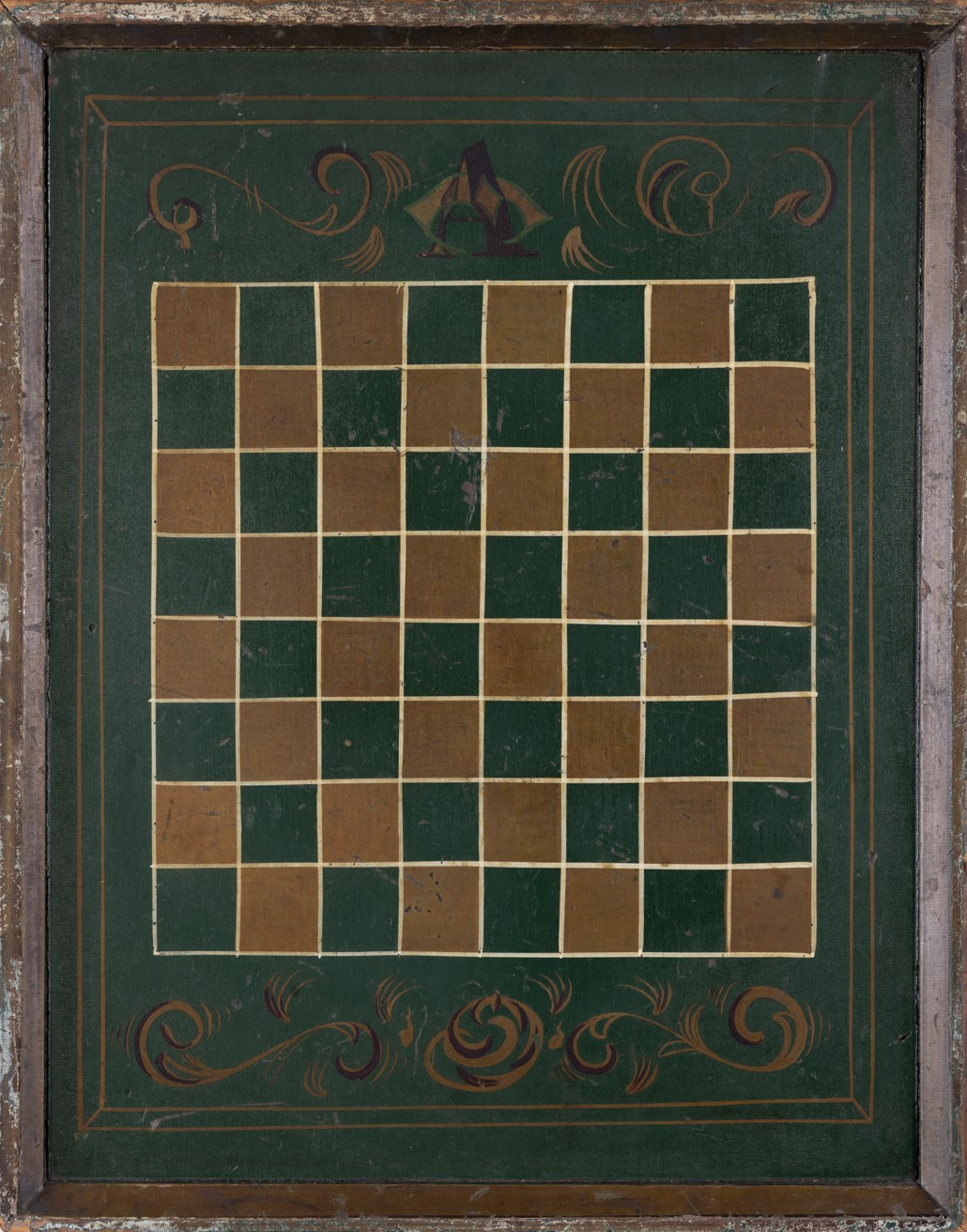 antique folk painted checkerboard rel=
