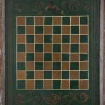 antique folk painted checkerboard