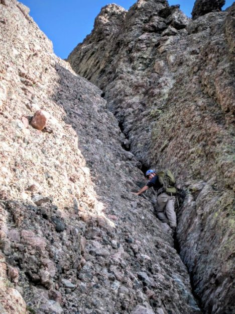 Henry Malmgren climbing the red gully.