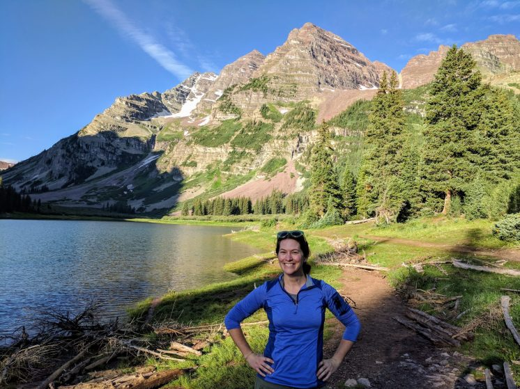 Darcie Eddy in front of Crater Lake.